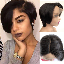 Tinashe Beauty Short Pixie Lace Wigs Pixie Cut Wig Straight Brazilian Remy Hair T Part Lace Wig Human Hair Wigs For Black Women