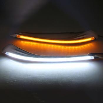 Car Headlight LED Eyebrow Daytime Running Light DRL with Yellow Turn Signal Light for Toyota Reiz Mark X 2010-2013