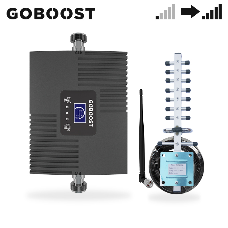 GOBOOST Repeater CDMA 850 GSM 900 LTE 1800 UNTS 2100 MHz 2g 3g 4g Signal Booster Cell Phone Amplifier Antenna With 10M Cable Kit