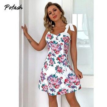 Pofash White Floral Print Summer Dress Women Ruched Spaghetti Strap Bow Mini Dress Female Holiday Bodycon Dresses 2021 Vestidos 1