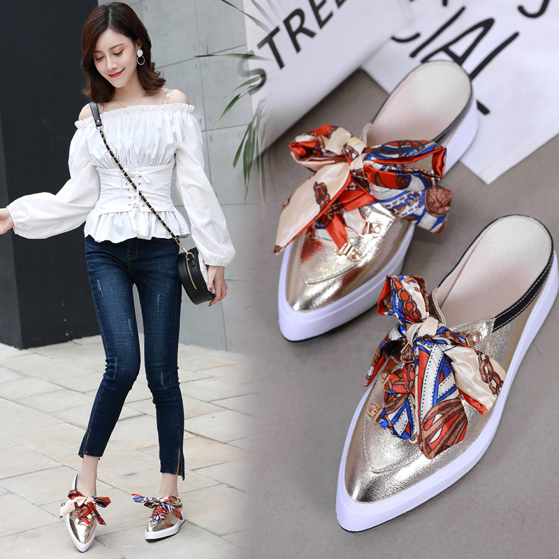 Spring Autumn Loafers Slippers Women Flats Shoes Thick Bottom Slides Ladies Pointed-Toe Riband Platform Flats Shoe Half Slippers 1