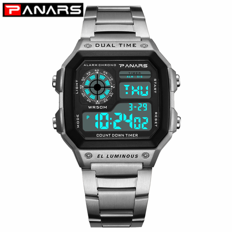 PANARS 2019 New Arrival Luminous Sport Watch Multifunction Men's Waterproof Wrist Watch Fitness Digital Watch Alarm Timer Clock