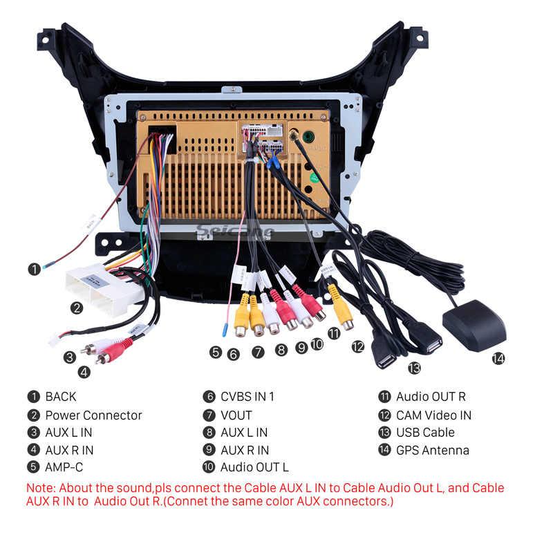 Seicane 9 inch for 2014-2016 Hyundai Elantra Auto GPS Navigation Bluetooth Touch screen Car Stereo TV Tuner Backup camera TPMS