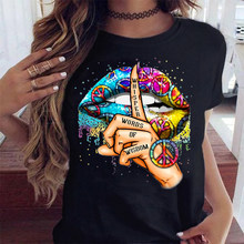 WVIOCE Lips Watercolor Graphic T Shirt Lip Women Tops O-neck Sexy Black Tees Kiss Lip Funny Summer Female Soft T Shirt 9180