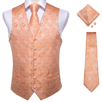 Vests For Men Slim Fit Mens Wedding Suit Vest Casual Sleeveless Formal Business Male Waistcoat Hanky Necktie Bow Tie Set DiBanGu 10