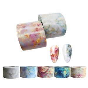 1 Roll Marble Pattern Nail Foils Transfer Sticker Japanese Style Pink Blue Finger Art Decal Gel Slider Manicure 4CM*100M