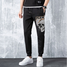Sweatpants homens calças do crânio fashions joggers calças masculinas casuais strass sweatpants de fitness calças