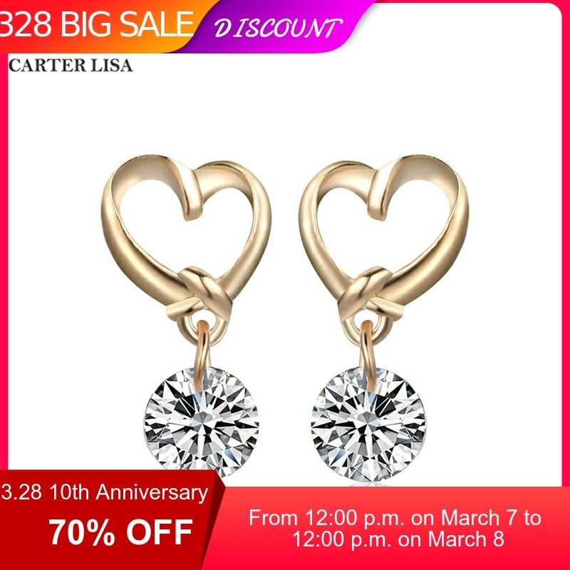 CARTER LISA Korea Fashion Luxury Gold Heart Shape Zircon White Crystal Stud Earring For Women Ins Pendientes Jewelry Oorbellen