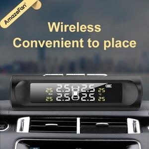 Image 2 - Solar Power Smart Auto Tpms Bandenspanning Alarm Monitoring Systemen Digitale Tmps Lcd Display Usb Auto Beveiliging Druk Sensor