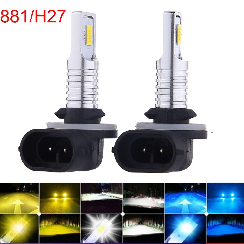 2 шт. H27 Led 881 880 H7 H4 H112000LM 6500K 8000K Противотуманные фары Дневные Фары Светильник передняя фара дальнего света для бега авто светодиодные лампы 12V ...