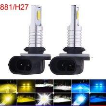 2 pçs h27 led 881 880 h7 h4 h112000lm 6500k 8000k cabeça da frente luz de nevoeiro carro condução correndo lâmpada auto 12v h11 farol do carro
