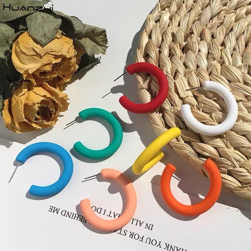 HUANZHI 2020 новый корейский смолы разноцветный кулон маленький геометрический полукруглый круглые c-образные серьги в виде колец, для Для женщи...