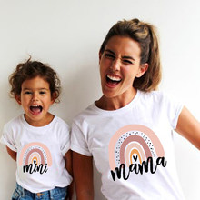 1pc Rainbow Mama and Mini Family Matching Tshirt Summer Short Sleeve Family Look T-shirts Mother and Daughter Fashion Clothes
