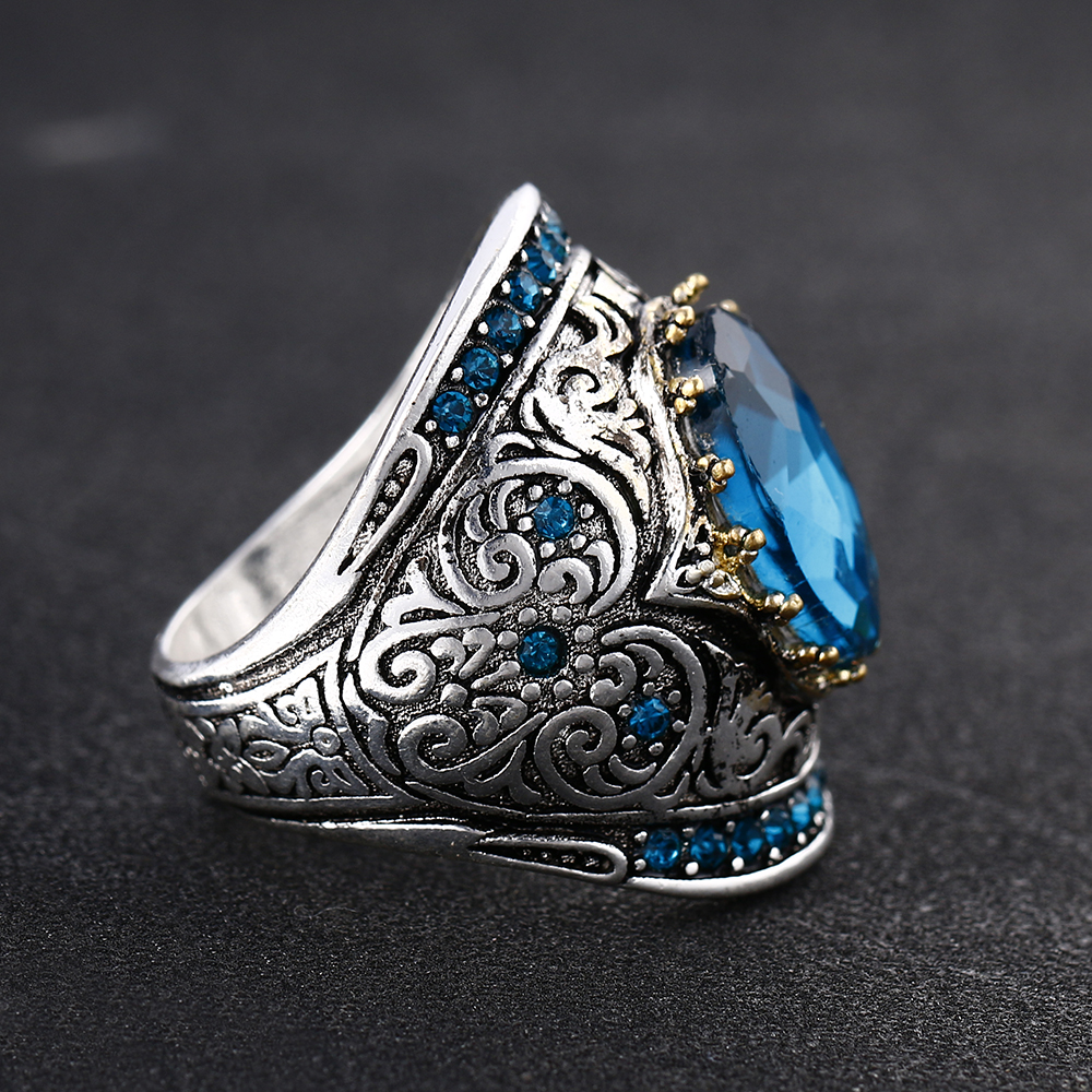 Bague Ringen 925 Silver Jewelry Vintage Rings For Women Men 10x14mm Aquamarine Gemstone Ring Anniversary Fine Jewlery Gifts 2