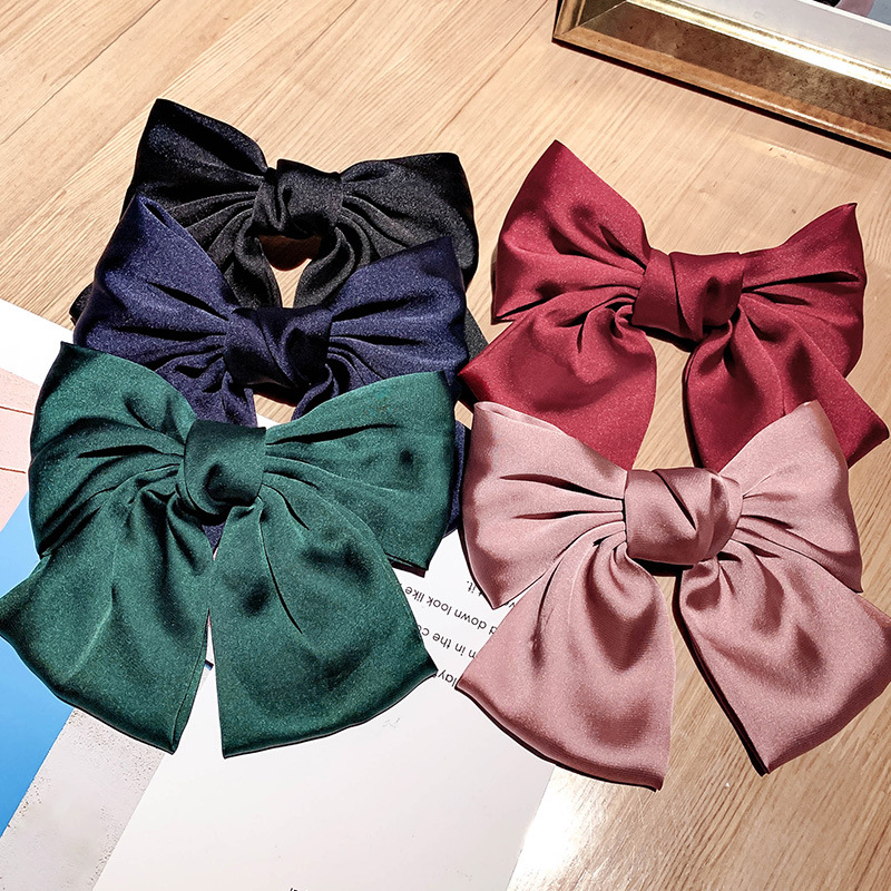 Large Bow Chiffon Hairpin Ribbon Hairgrips For Women Girls Satin Trendy Lady Hair Clip Ponytail Clips Barrettes Hair Accessories