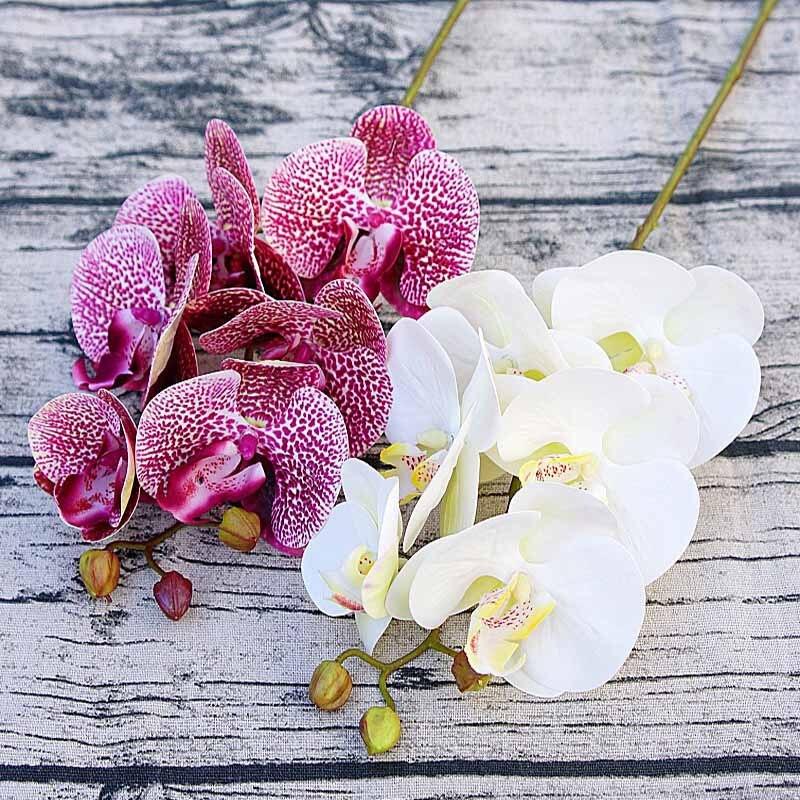 1 pacote (6 cabeças) plástico Borboleta orquídea vasos para decoração de casa flores decorativas do casamento caixa De presentes de Natal flor artificial