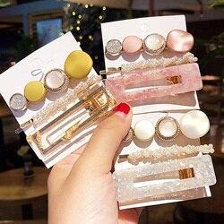 Nowy 3 sztuk/zestaw modne perły octan geometryczne spinki do włosów dla kobiet dziewczyn pałąk słodkie spinki Barrettes zestaw akcesoriów do włosów