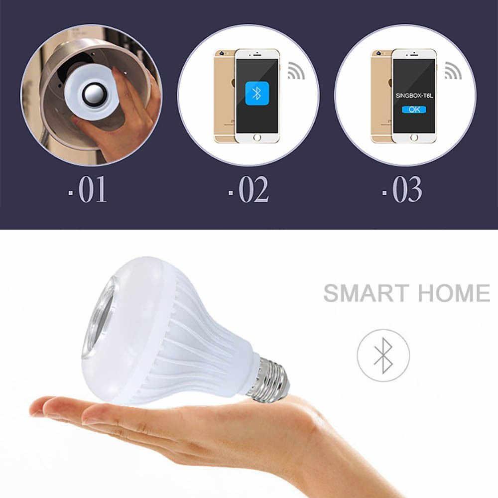 Thông Minh E27 RGB Loa Bluetooth Bóng Đèn Led 12W Chơi Nhạc Mờ Đèn LED Không Dây Đèn 24 Phím Điều Khiển Từ Xa điều Khiển