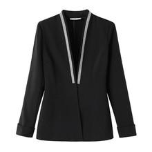 Blazers Outwear V-Neck Clothing Coats Open-Stitch-Spring Oversized Long-Sleeve Black