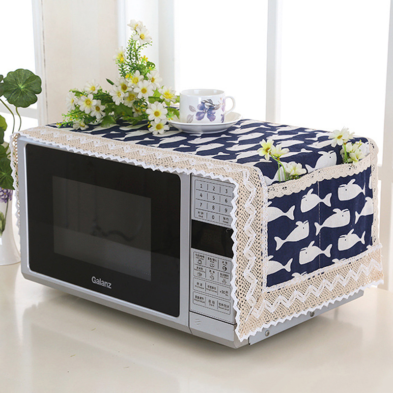1pc Flax Dust Cover Microwave Cover Microwave Oven Hood Microwave Towel With Storage Bag Home Kitchen Tool