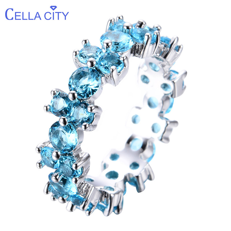 Cellacity Trendy Ring For Women Silver 925 Jewelry 9 Colors Round Gemstones Ruby Aquamarine Emerald Amethyst Sapphire Crystal