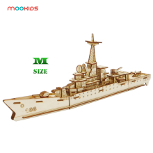 Mookids Desk Decoration Cutting DIY Sailing Ship Military 3D Wooden Puzzle Toy Assembly Model building ship Wood Craft Kits