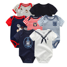 2019 7PCS/Lot Baby Boy Clothes New bron Baby Clothes Summer Baby Girl Clothes Cotton Unisex 0 12M Short Sleeve Roupa de bebe