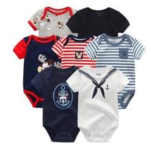 Детская одежда для мальчиков и девочек, 7 шт./лот, летняя хлопковая одежда унисекс с коротким рукавом для детей 0 12 месяцев, 2019