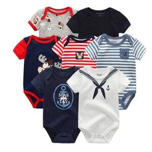 Image 1 - Детская одежда для мальчиков и девочек, 7 шт./лот, летняя хлопковая одежда унисекс с коротким рукавом для детей 0 12 месяцев, 2019