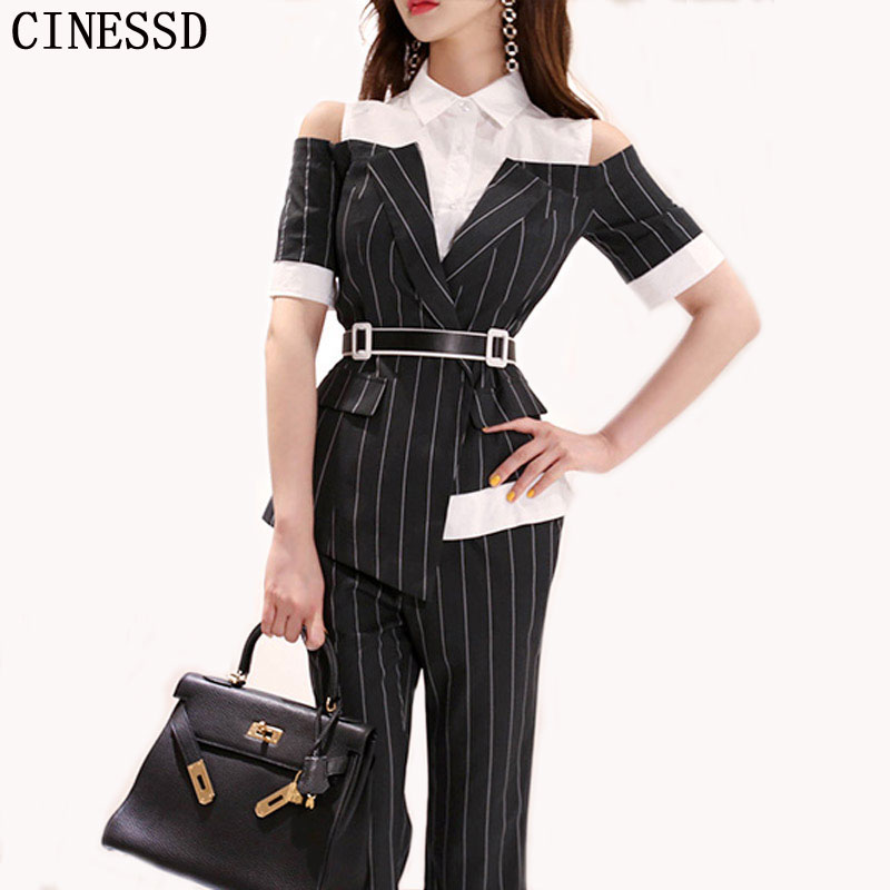 CINESSD Long Pants OL Work Set 2019 Women Single Breasted Two-piece Set Stripe Notched Suits Top Female Blazer Jacket Pant