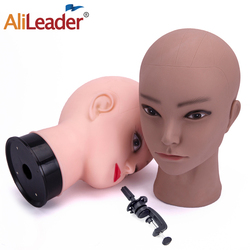 Alileader Female Bald Mannequin Head With Stand Cosmetology Practice African Training Manikin Head For Hair Styling Wigs Making