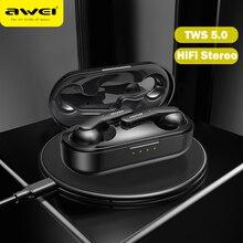 AWEI T10C TWS Bluetooth V 5,0 Kopfhörer Kopfhörer Drahtlose Lade Headset Touch Control Ohrhörer für Xiaomi iPhone Samsung Huawei