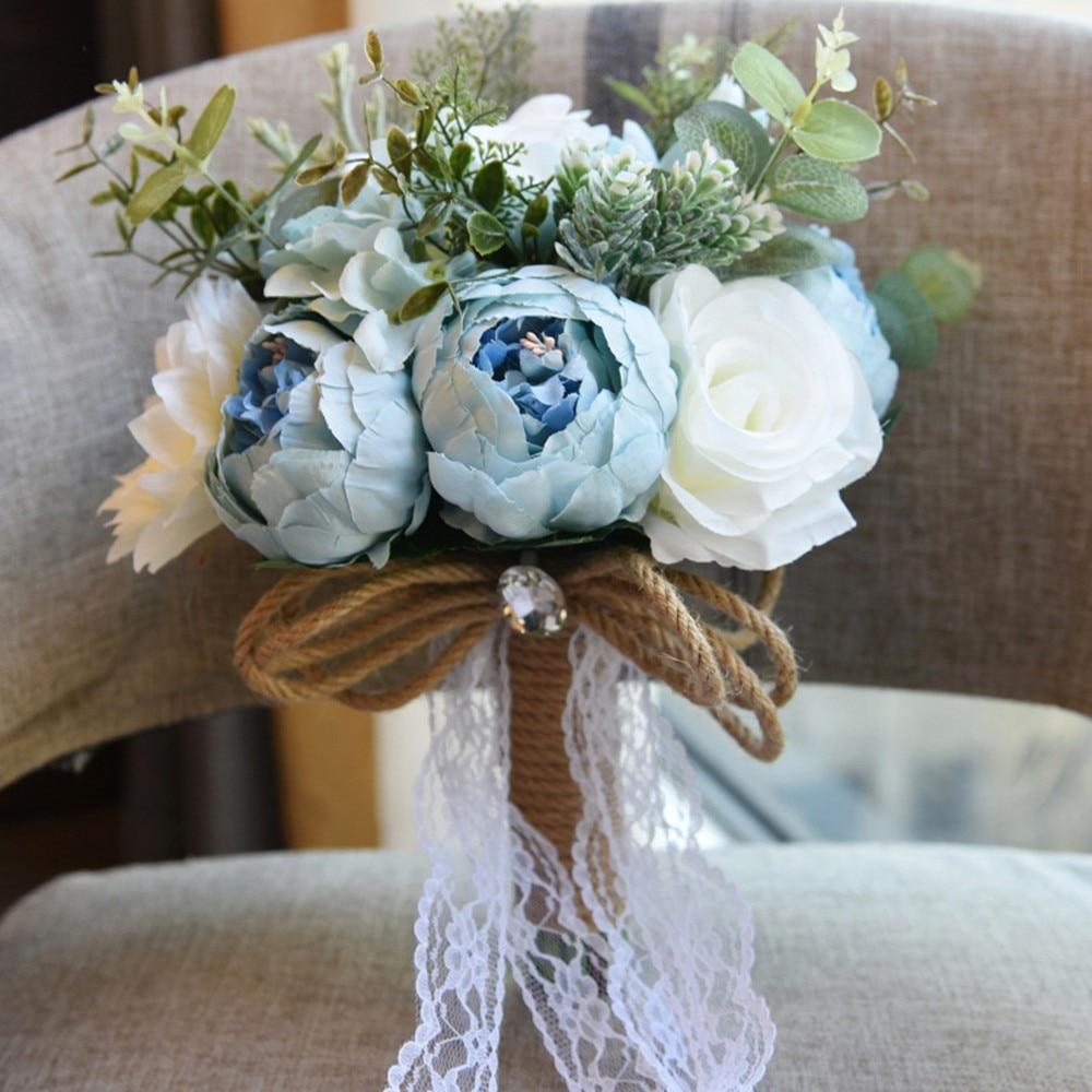 1 ensemble mariage fleurs de mariée fleurs artificielles satin roses bouquets de mariée nouveau mariage fleurs rustique mariage bouquet