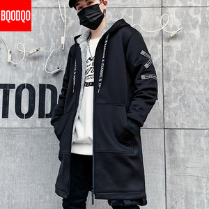 Image 2 - Тренчкот Мужской Длинный Облегающий в стиле милитари, черная уличная одежда в стиле хип хоп с капюшоном и надписью, Корейская куртка на осень и зиму