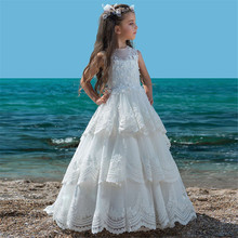 White Lace Flower Girls Dresses For Wedding Pleated Ruffles Girls First Communion Dresses Girls Special Occasion Dresses cheap lifetime not regret O-Neck Floor-Length Sleeveless A-Line Tulle REGULAR Appliques Embroidery Ruched Tiered Flower Girl Dresses