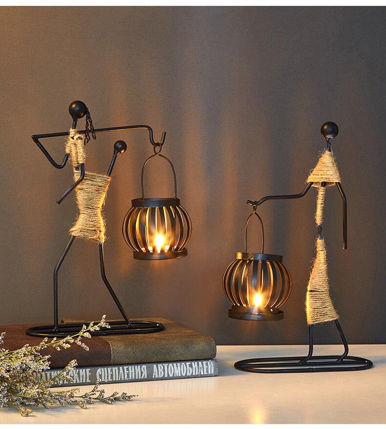 Candelabros modelo de personas de Metal para decoración