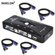 Квм-Консоль Ingelon с 4 портами, USB 2,0, VGA, сплиттер, принтер, мышь, клавиатура, флеш-накопитель, коммутатор 1920*1440, VGA, адаптер-переключатель