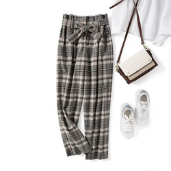 Women's Long Plaid Pants High Waist Straight Loose Sashes Trousers England Style Ladies Casual Clothes Autumn and Winter
