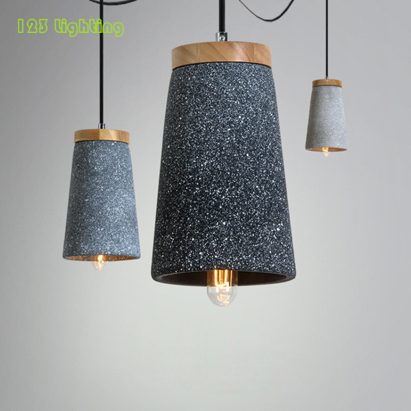 Rétro bois/ciment lustre E27 LED ampoule Restaurant suspension lampe Bar café Hanglamp Vintage maison suspendus luminaires
