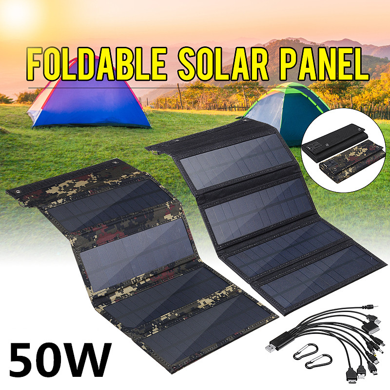 50W Foldable Solar Panel 5V Sun power Solar Cells Bank Pack USB 10in1 USB Cable Waterproof for Phone Backpack Camping Hiking