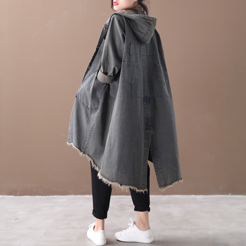 Female new autumn and spring korean style plus size outerwear literary washed do-worn split fork loose   trench