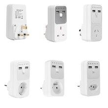 อิเล็กทรอนิกส์Digital Timer Switch EU UK AU BR FR Plug Kitchen Timer Outlet Programmable Timing Socket Dual USB Charger Adapter