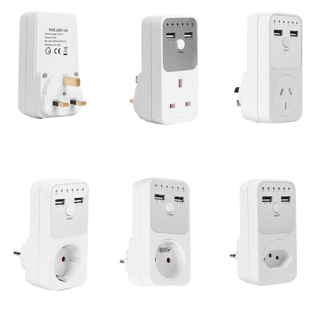 Electronic Digital Timer Switch  EU UK AU BR FR Plug Kitchen Timer Outlet Programmable Timing Socket Dual USB Charger Adapter