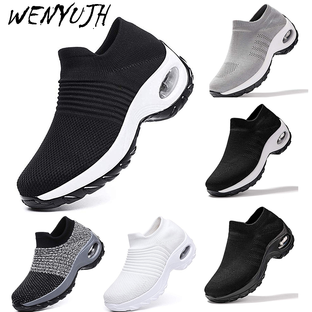 Womens Flats Slip On Shoes Women Mesh Casual Sock Sneakers Platform 2019 Comfortable Ladies Breathable Athletics Jogging Sneaker