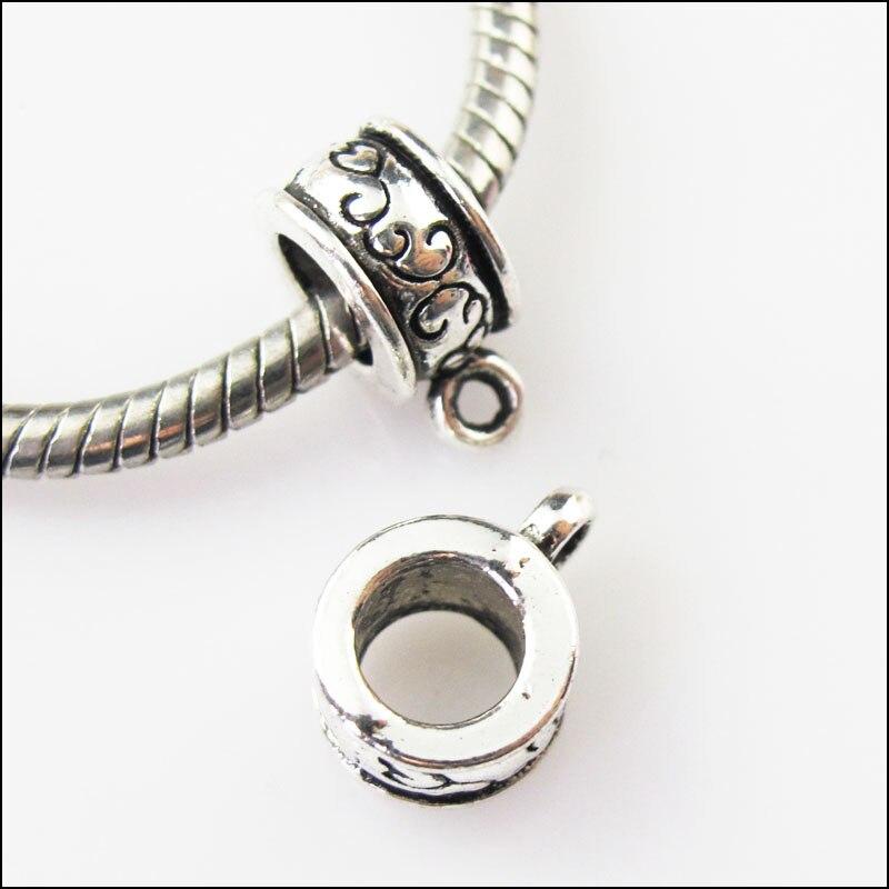 12Pcs Antiqued Silver Flower Bail Bead Fit Bracelet Charms Connectors 7.5x9.5mm