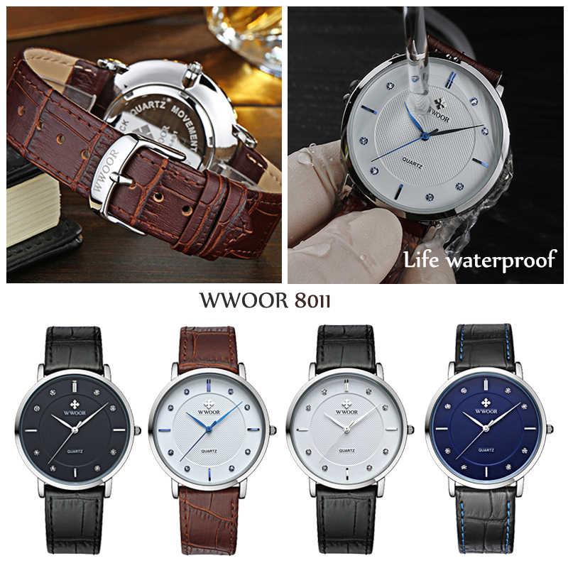 Classic Bruin Lederen Quartz Horloge Voor Mannen Wwoor Top Luxe Brand Fashion Diamond Zakelijke Horloges Heren Waterdichte Klok
