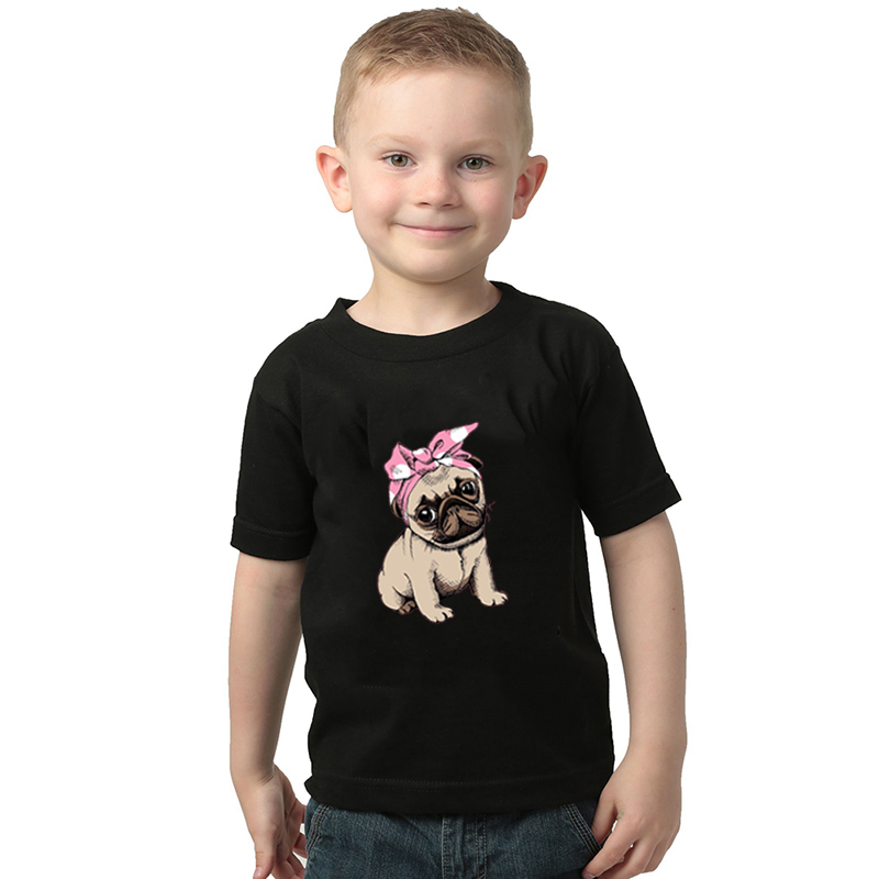 2020 Summer Boys T Shirt Toddler Girl Tees Animal Pug T-shirt for Girls Cotton Children's Tshirts for Boy Child Shirts Kids Tops image