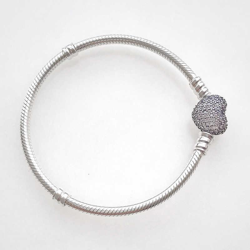 Orijinal 925 ayar gümüş yılan zincir bileklik güvenli kalp toka boncuk Charms bilezik kadınlar için DIY takı yapımı