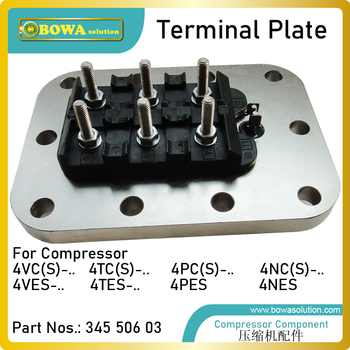Terminal plate  is designed for electric wiring of semi-hermetic recipricating compressor, such as star-delta start wiring