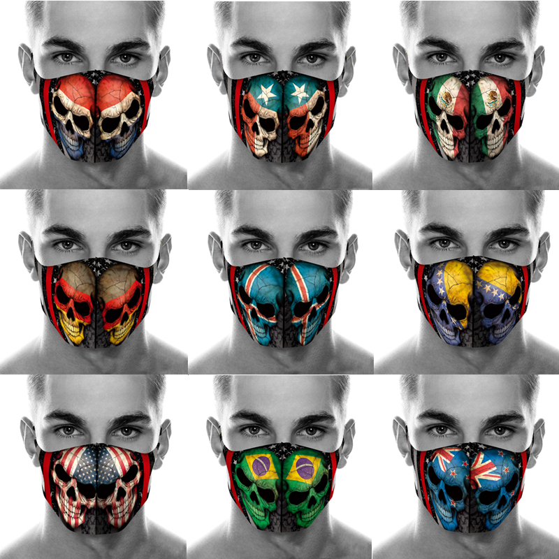 Forza Italy Spain Flag Skull Print Face Mask Adult PM2.5 Dust Filter Washable Fabric Mask Purifying Reusable Maske Protective